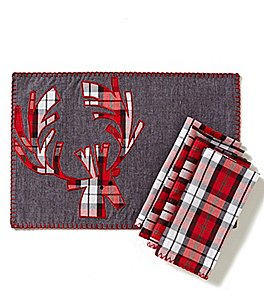 Image of Lenox Holiday Plaid Reindeer Table Linens