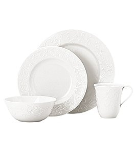 Image of Lenox Opal Innocence Carved Scroll Porcelain 4-Piece Place Setting
