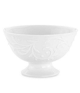 Image of Lenox Opal Innocence Carved Scroll Porcelain Footed Dessert Bowl