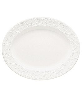 "Image of Lenox Opal Innocence Carved Scroll Porcelain Oval 14"" Platter"