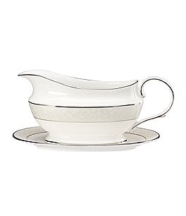 Image of Lenox Opal Innocence Vine & Pearl Platinum Bone China Gravy Boat with Stand