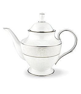 Image of Lenox Opal Innocence Vine & Pearl Platinum Opalescent Bone China Teapot