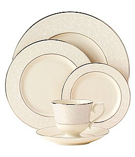 Image of Lenox Pearl Innocence Vine & Pearl Platinum Bone China 5-Piece Place Setting