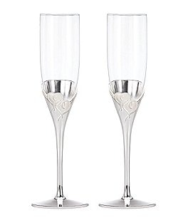 Image of Lenox True Love Heart Crystal Flute Pair