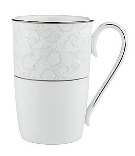 Image of Lenox Venetian Lace Floral Platinum Bone China Accent Mug
