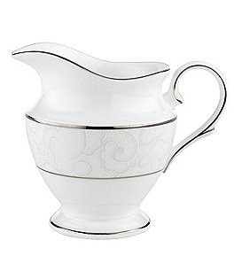 Image of Lenox Venetian Lace Floral Platinum Bone China Creamer