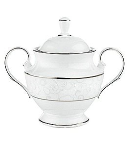 Image of Lenox Venetian Lace Floral Platinum Bone China Sugar Bowl