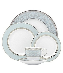 Image of Lenox Westmore Floral Platinum Bone China 5-Piece Place Setting
