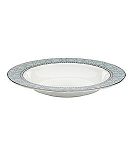 Image of Lenox Westmore Floral Platinum Bone China Rimmed Soup Bowl