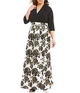Image of Leslie Fay Plus Faux-Wrap Floral Printed Ballgown