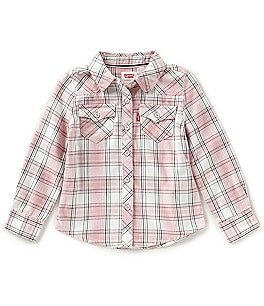 Image of Levi's® Baby Girls 12-24 Months The Western Long-Sleeve Plaid Shirt