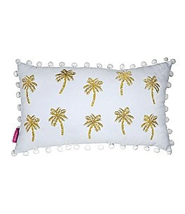 Image of Lilly Pulitzer Pom-Trimmed Metallic Palms Canvas Pillow