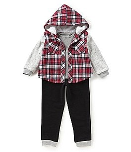 Image of Little Brother Baby Boys Newborn-24 Months Plaid Snap-Front Jacket, Shirt, & Pants 3-Piece Set