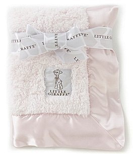 Image of Little Giraffe Satin Trim Chenille Blanket