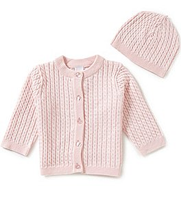 Image of Little Me Baby Girls 3-12 Months Huggable Cable-Knit Sweater and Hat Set