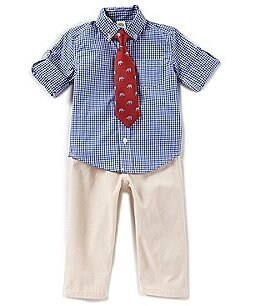 Image of Little Me Baby Boys 12-24 Months Button-Down Checked Shirt, Pants, & Tie 3-Piece Set