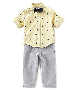 Image of Little Me Baby Boys 12-24 Months Long-Sleeve Patterned Shirt, Tonal-Stripe Pants & Bow Tie Set