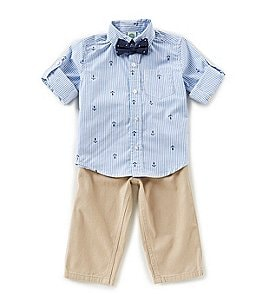 Image of Little Me Baby Boys 12-24 Months Long-Sleeve Stripe Schiffli Shirt, Solid Pants & Bow Tie Set