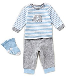 Image of Little Me Baby Boys 3-12 Months Elephant Striped Top, Pants, & Socks 3-Piece Set