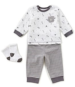 Image of Little Me Baby Boys 3-12 Months Safari Top, Striped Pants, & Socks 3-Piece Set