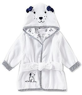 Image of Little Me Baby Boys Newborn-9 Months Puppy Toile Hooded Bath Robe