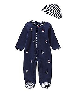 Image of Little Me Baby Boys Newborn-9 Months Schiffli Sailboat Footed Coverall & Hat Set