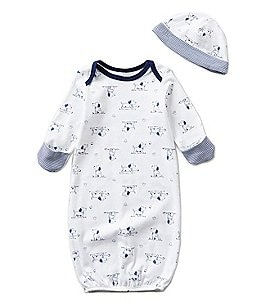 Image of Little Me Baby Boys Newborn Puppy Toile Printed Gown
