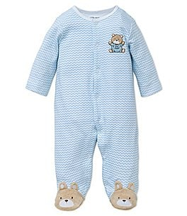 Image of Little Me Baby Boys Preemie-9 Months Chevron Bear Footed Coverall
