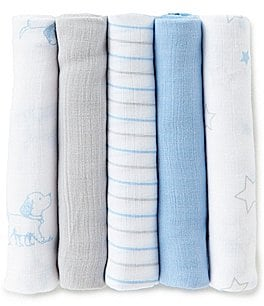 Image of Little Me Baby Boys Puppy Star Printed 5-Pack Muslin Cloths