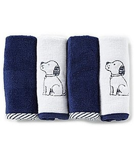 Image of Little Me Baby Boys Puppy Toile 4-Pack Washcloth Set