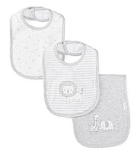 Image of Little Me Baby Boys Safari 2-Pack Bib & Burp Cloth Set