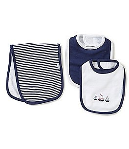 Image of Little Me Baby Boys Sailboats Bib & Burp Cloth Set