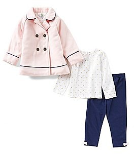 Image of Little Me Baby Girls 12-24 Months Bow-Back Jacket, Long-Sleeve Tee, & Leggings 3-Piece Set