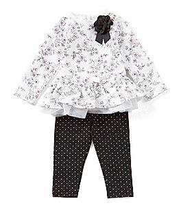 Image of Little Me Baby Girls 12-24 Months Floral Tunic & Pindotted Leggings Set