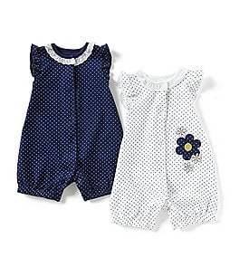 Image of Little Me Baby Girls 3-12 Months Dotted Daisy 2-Pack Romper Set