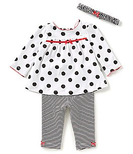 Image of Little Me Baby Girls 3-12 Months Dotted Tunic Top, Striped Leggings, & Headband 3-Piece Set
