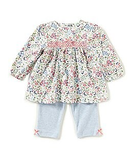 Image of Little Me Baby Girls 3-12 Months Floral Long-Sleeve Top & Pants Set