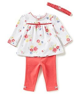 Image of Little Me Baby Girls 3-12 Months Floral-Print Top, Solid Leggings, & Headband 3-Piece Set