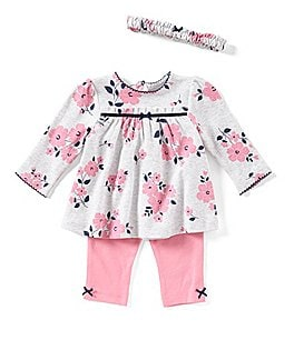 Image of Little Me Baby Girls 3-12 Months Floral Tunic Top, Leggings, & Headband 3-Piece Set