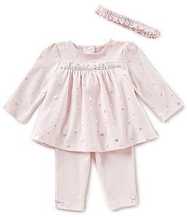 Image of Little Me Baby Girls 3-12 Months Heart-Print Tunic Top, Leggings, & Headband 3-Piece Set