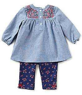 Image of Little Me Baby Girls 3-12 Months Long-Sleeve Chambray Top & Printed Leggings Set