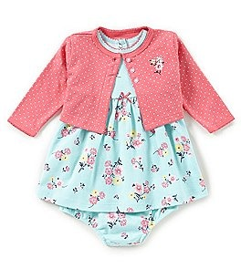 Image of Little Me Baby Girls 3-12 Months Pindotted Cardigan & Floral-Printed Dress Set