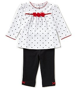 Image of Little Me Baby Girls 3-12 Months Pindotted Tunic & Solid Leggings Set