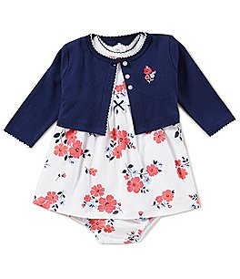 Image of Little Me Baby Girls 3-12 Months Solid Cardigan & Floral-Printed Dress Set