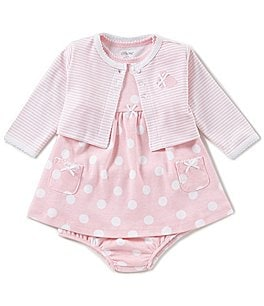 Image of Little Me Baby Girls 3-12 Months Striped Cardigan & Dotted Dress Set