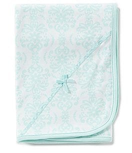 Image of Little Me Baby Girls Damask-Print Swaddle Blanket
