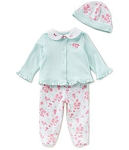 Image of Little Me Baby Girls Newborn-9 Months Button-Down Cardigan, Floral Pants, & Beanie Hat 3-Piece Set