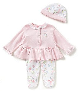 Image of Little Me Baby Girls Newborn-9 Months Cardigan Top, Floral Footed Pants, & Hat 3-Piece Set