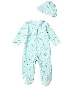 Image of Little Me Baby Girls Newborn-9 Months Floral Spray Footed Coveralls