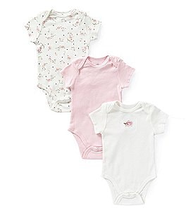Image of Little Me Baby Girls Newborn-9 Months Vintage-Rose 3-Pack Bodysuits